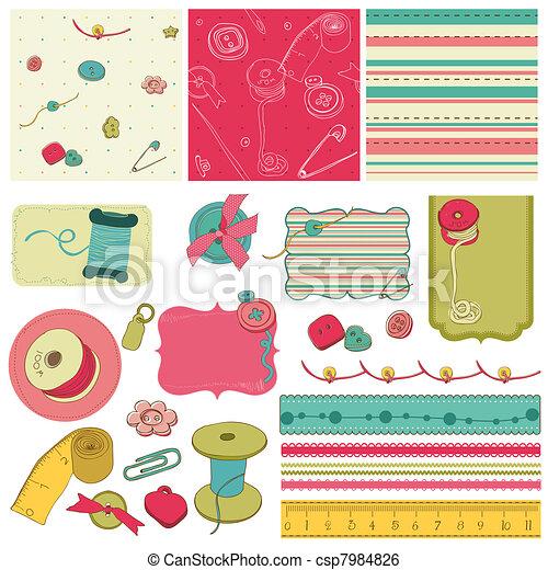 éléments, scrapbooking, couture, -, kit, conception - csp7984826