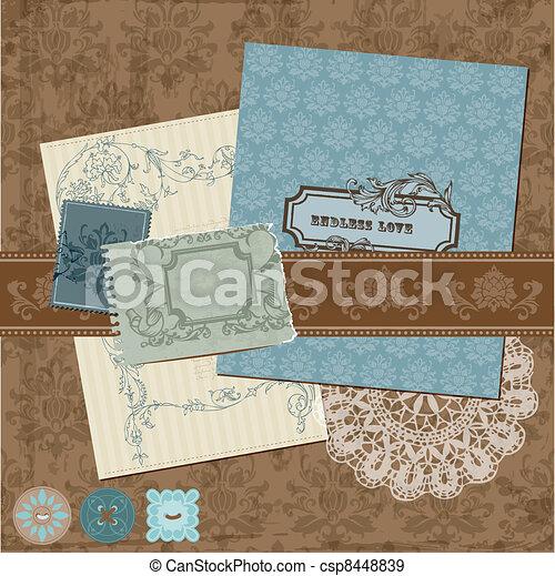 éléments, vendange, -, vecteur, conception, cadres, album, fleurs - csp8448839