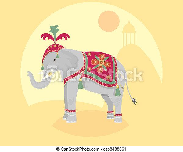 L phant indien debout illustration indien asiatique d corations l phant devant - Elephant indien dessin ...