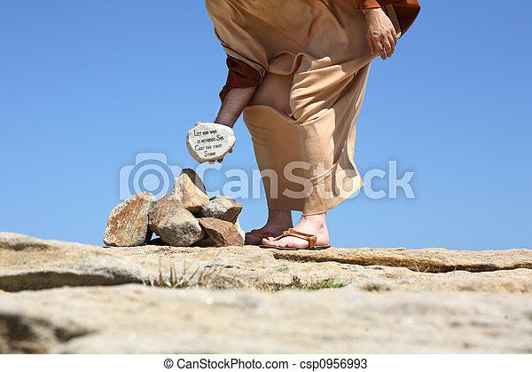 Él sin pecado lanza piedra - csp0956993