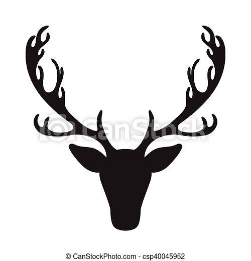 Lan t te silhouette cerf isol illustration vecteur lan t te silhouette cerf - Dessin tete de cerf ...
