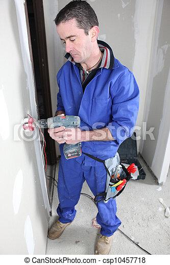 électricien, électrique, installation, sortie - csp10457718