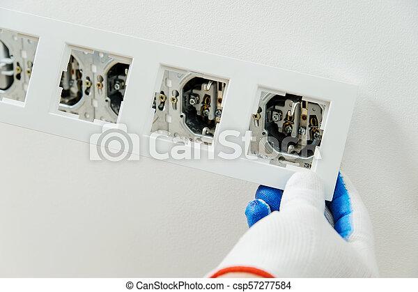 électricien, décoratif, installs, frame. - csp57277584