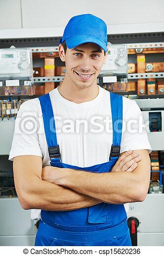 électricien, ouvrier, jeune, ingénieur - csp15620236