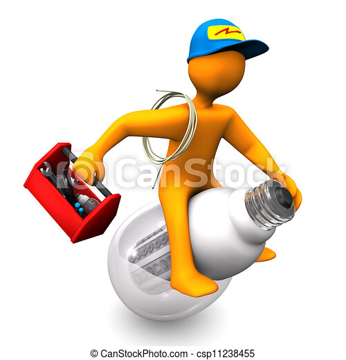 Image Électricien Électricien, promenades. caractère, électricien, led-lamp., arrière