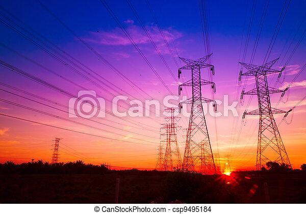 électricité, coucher soleil, pylônes - csp9495184
