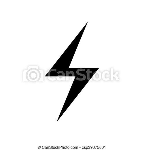 Lectricit icon symbole clair plat silhouette - Eclaire dessin ...