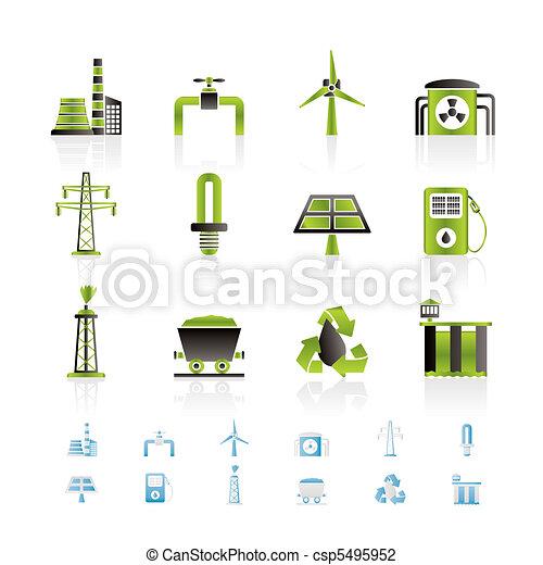 électricité, industrie, puissance, icône - csp5495952