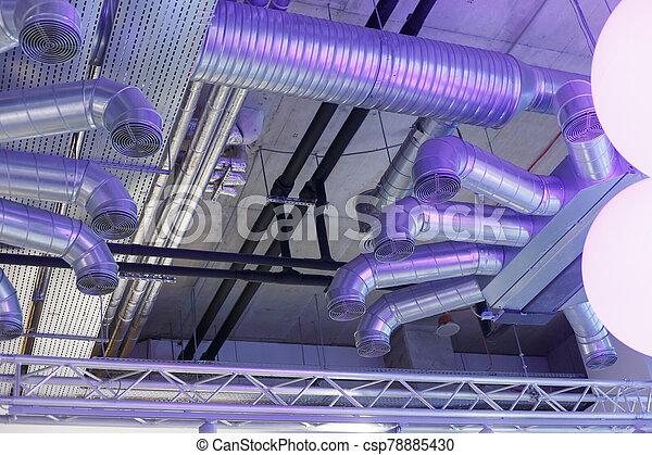électrique, communications, conduits, système, canaux transmission, ventilation, industriel, sous, plafond - csp78885430