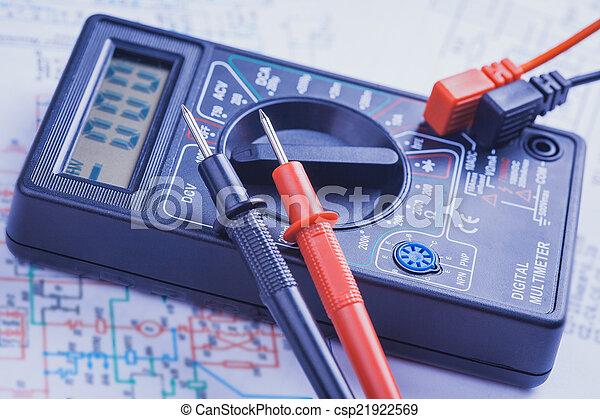 électrique, gros plan, multimètre, circuit. - csp21922569
