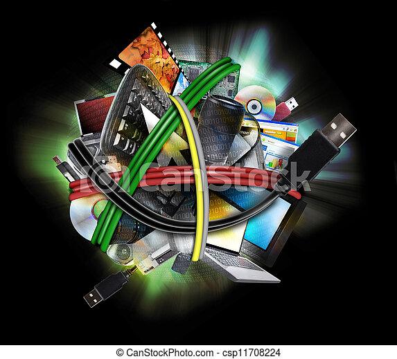 électronique, cordes, fil, technologie - csp11708224