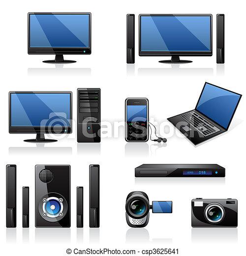 électronique, icônes, ordinateurs - csp3625641