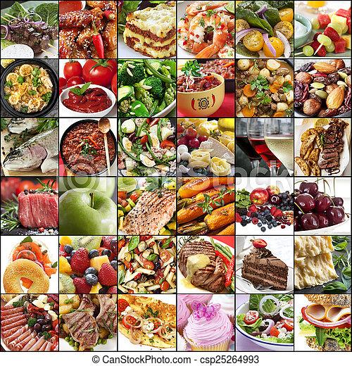 élelmiszer, nagy, kollázs - csp25264993