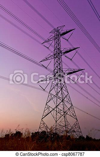 élevé, électrique, tension, alimentez pylône - csp8067787