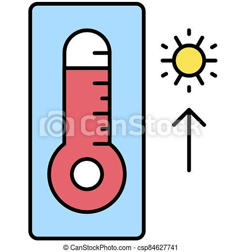 élevé, apparenté, icône, température, thermomètre, vacances été, vecteur - csp84627741