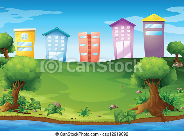 élevé, bâtiments, travers, lac - csp12919092