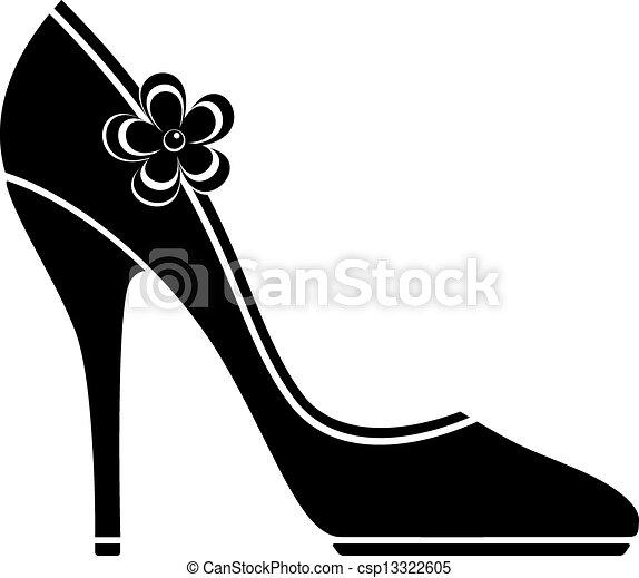 élevé, chaussures, talon, (silhouette) - csp13322605