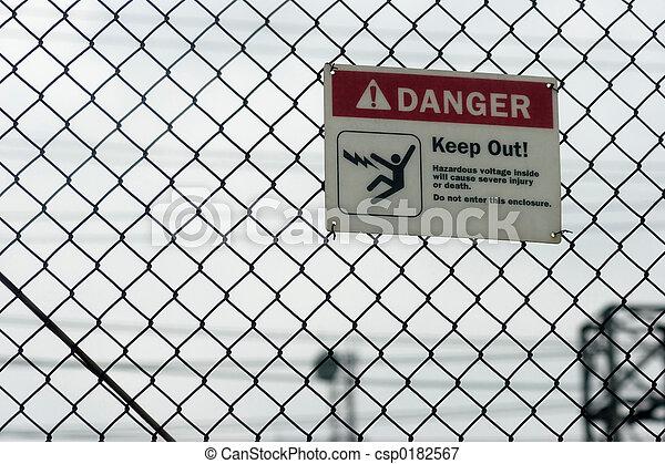 élevé, danger, tension, signe - csp0182567