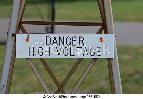 élevé, danger, tension, signe - csp49661559