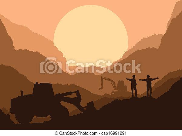 élevé, excavateur, seau, site, chargeur, vecteur, construction - csp16991291