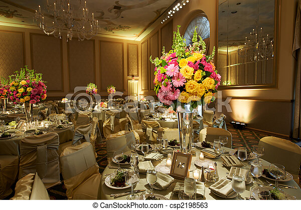 élevé, fin, réception, mariage - csp2198563