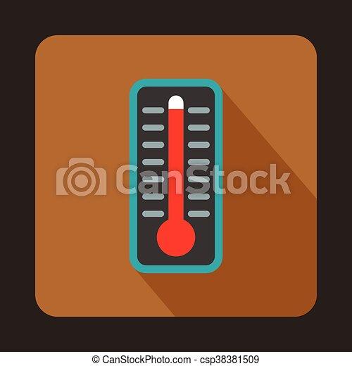 élevé, indique, thermomètre, température, icône - csp38381509