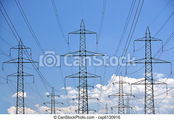 élevé, lignes, tension, puissance - csp6130916
