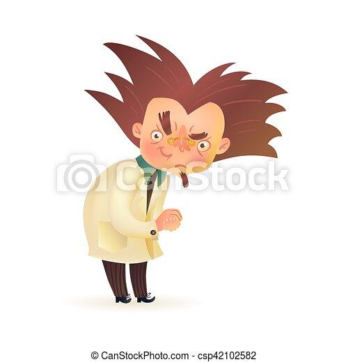 élevé, manteau, prof, sourcil, laboratoire, fou, mal - csp42102582