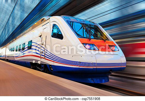 élevé, moderne, mouvement, train, barbouillage, vitesse - csp7551908
