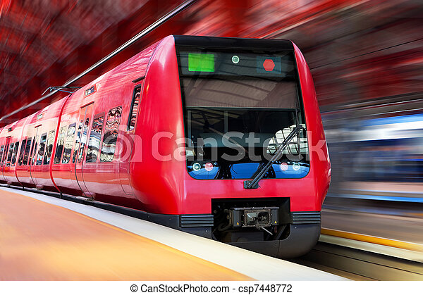 élevé, moderne, mouvement, train, barbouillage, vitesse - csp7448772