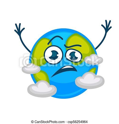élevé Nuages Fâché Caractère Triste Planète Vecteur Mains La Terre Dessin Animé Ou