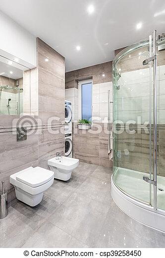 élevé, salle bains, lustre, fonctionnel, idée