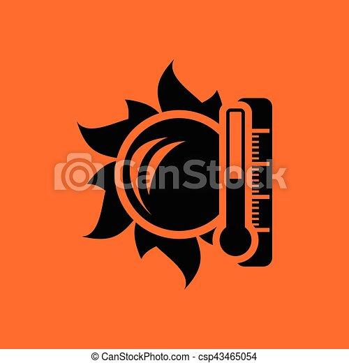 élevé, soleil, icône, température, thermomètre - csp43465054