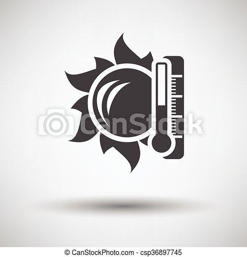 élevé, soleil, icône, température, thermomètre - csp36897745