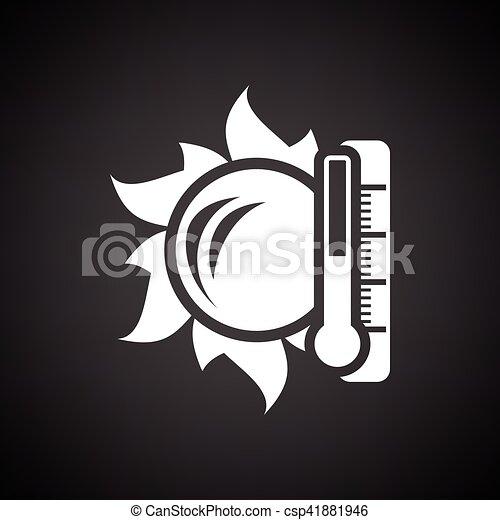 élevé, soleil, icône, température, thermomètre - csp41881946
