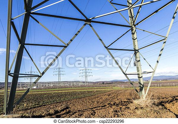 élevé, tour, tension, pylônes - csp22293296