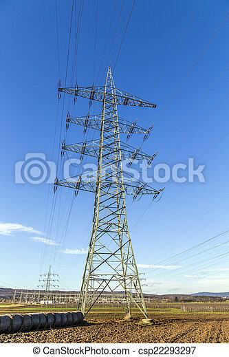 élevé, tour, tension, pylônes - csp22293297