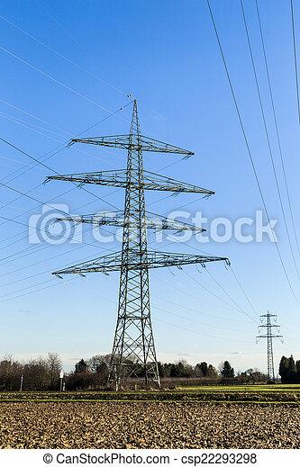 élevé, tour, tension, pylônes - csp22293298