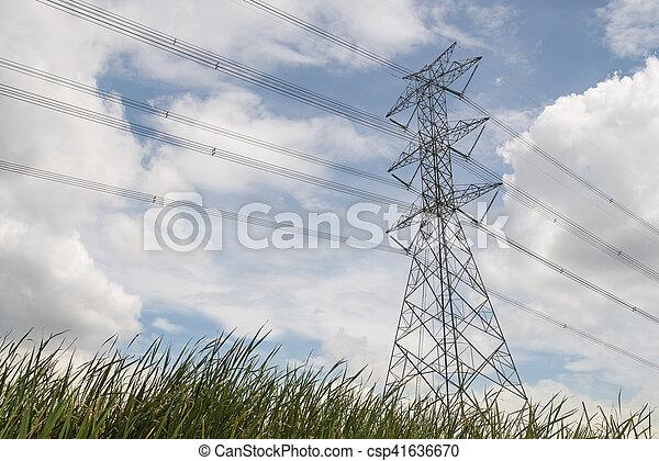 élevé, towers., tension - csp41636670