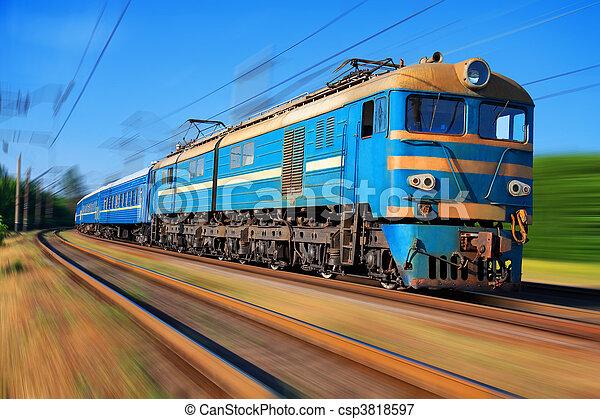 élevé, train passager, vitesse - csp3818597