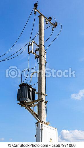 élevé, transformateur, station, pilier, puissance - csp67971086