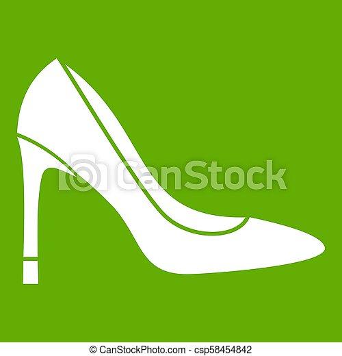 élevé, vert, chaussure, talon, icône - csp58454842