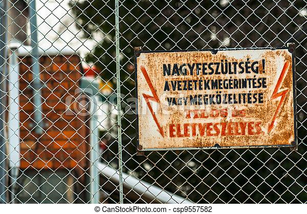 "élevé, voltage., ""keep, away"", danger - csp9557582"
