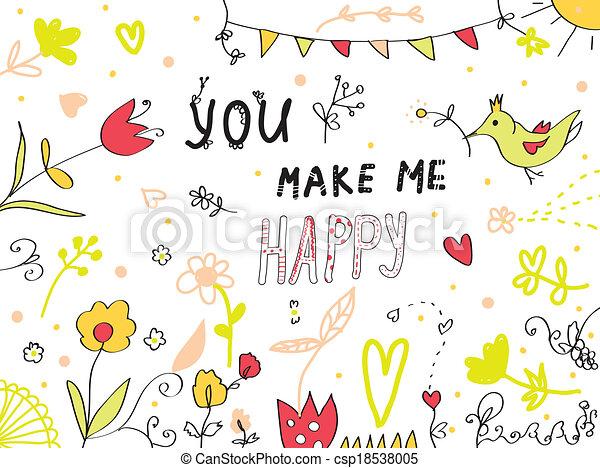 én, csinál, köszönés, tervezés, virágos, ön, kártya, boldog - csp18538005
