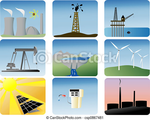 énergie, ensemble, icônes - csp0867481