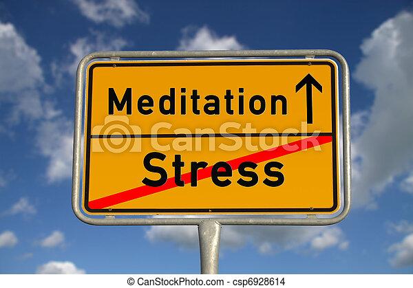 Señales de carretera alemanes de estrés y meditación - csp6928614