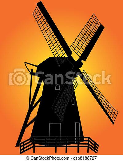 éolienne, noir, silhouette - csp8188727