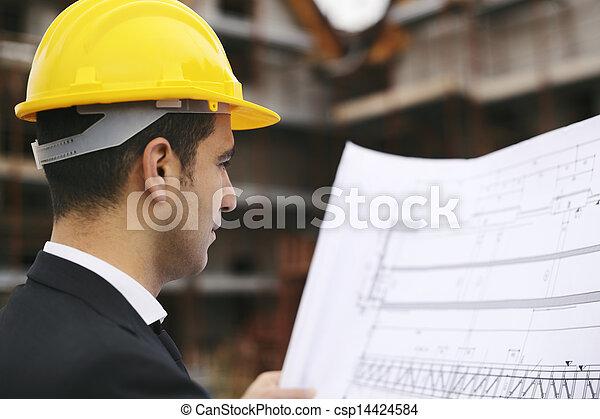 épület ábra, házhely, látszó, szerkesztés, építészmérnök - csp14424584