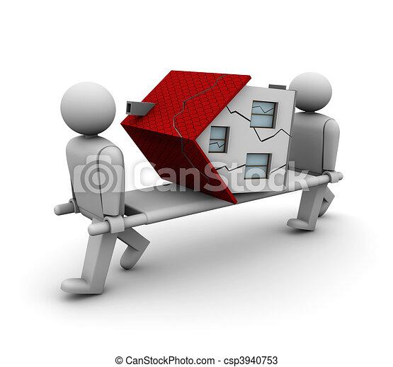 épület, öreg, romos - csp3940753
