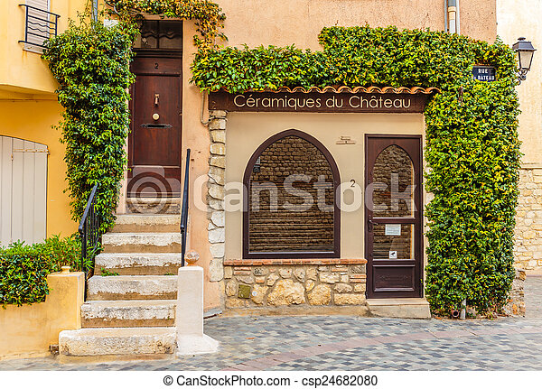 épület, belépés, öreg, francia - csp24682080